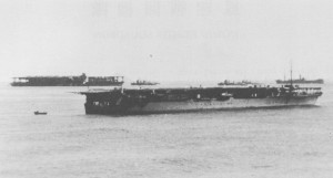 The carriers Hosho and Kaga after a training mission.