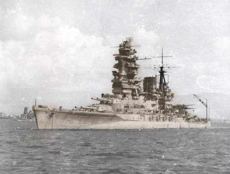 Imperial Japanese Navy Nagato Battleship (1920-1946). The flagship of Admiral Yamamoto during attack on Pearl Harbor. High definition and filtered with HT color tuning.