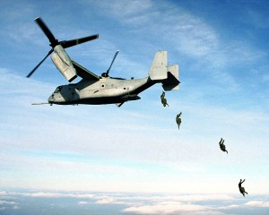 An airmobile operation led by V-22 Osprey.