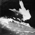 Yamato at combat during air attack in 1945.