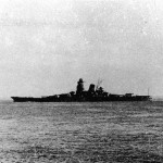 The battleship Musashi sailing towards Brunei, Borneo, 22 Oct 1944