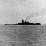 Musashi down by the bow after the air attacks, shortly before her sinking