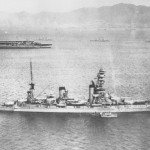 Battleship Yamashiro with aircraft carrier Kaga in background.