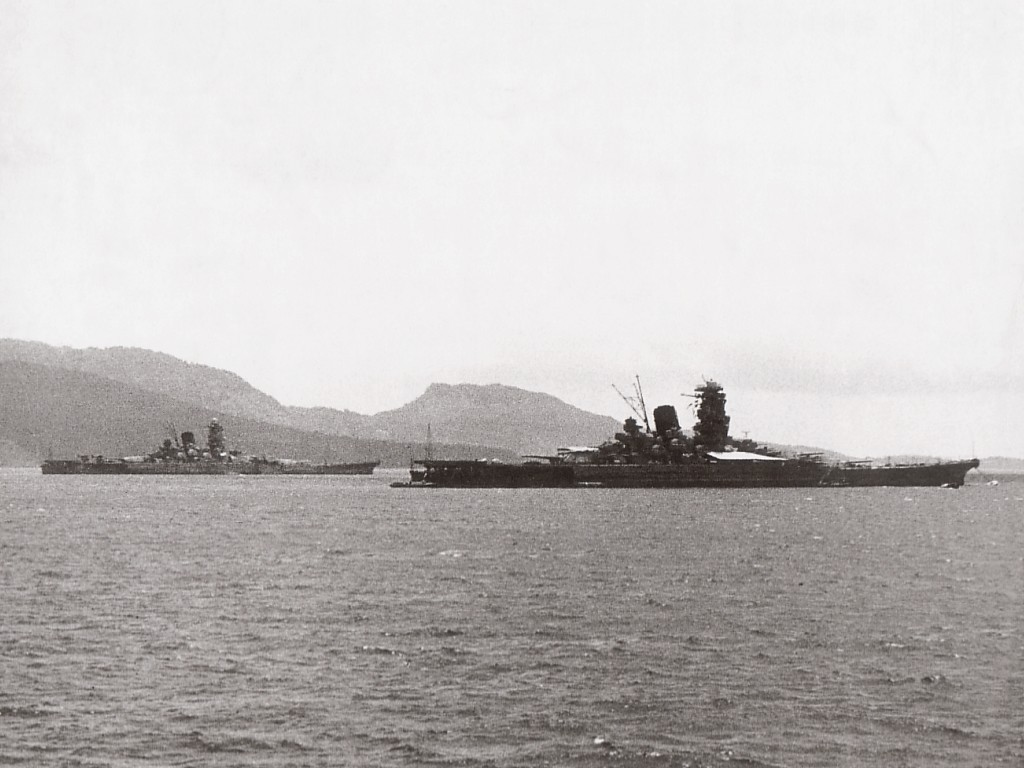 The battleship Musashi with its twin the Yamato.