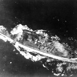 Yamato hit by a bomb in 1945.