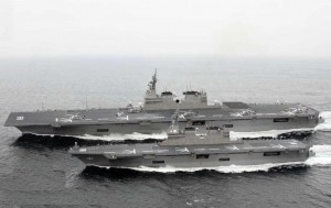 A comparison of the former Helicopter carrier Hyuga and the newly commissioned Izumo.  The difference in length is obvious in the image.