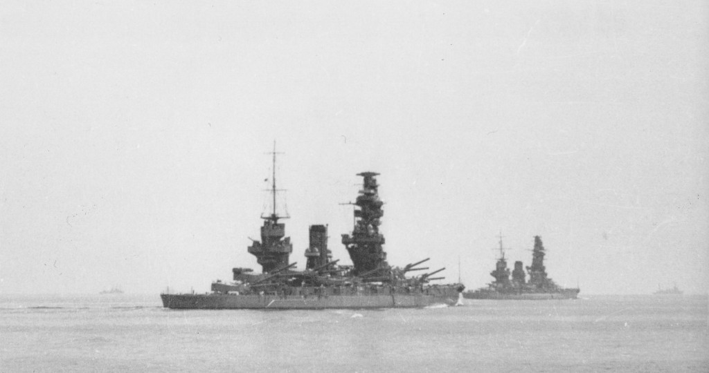 Battleships Fuso together with battleship Yamashiro, which is in background  during maneuvers,  in some moment between March and May, 1935