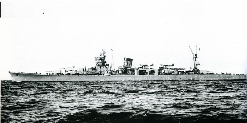The Japanese Cruiser Yahagi on December 1943, after its completion.