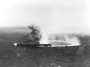 The Shokaku carrier is hit during the Battle of Coral Sea.