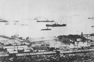 The Beiyang fleet at anchor in Weihaiwei