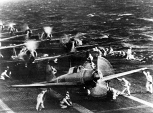 Planes from Shōkaku preparing for the attack on Pearl Harbor
