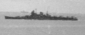 MOGAMI, heavy cruiser of the Imperial Japanese Navy. Aircraft carrier on back is Taiho or Hiyo class. View from Maya.