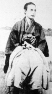 Kaishu Katsu seated in traditional clothing