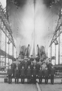 The main group of twenty-eight chief shipbuilders which joined  the Shōkaku construction posing on  (30 May 1939).