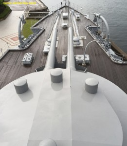 Another  view of the main ahead turret from the ship's tower with different angle with shows the large diameter of the turret.