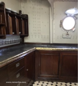 The kitchen of the Mikasa Battleship. All furniture was imported from Britain, where the ship was constructed too.
