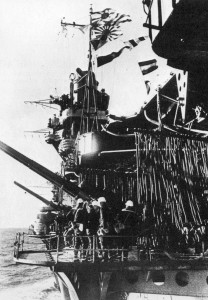 Port-side anti-aircraft gun sponsons in Akagi, showing their low-mounted position on the hull, which greatly restricted their arc of fire.