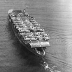 A stern view of Akagi off Osaka on 15 October 1934. On deck are Mitsubishi B1M and B2M bombers