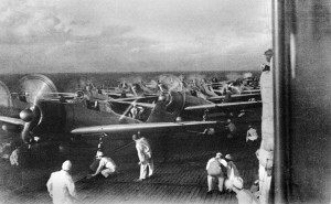 A6M2 Zero fighters prepare to launch from Akagi as part of the second wave during the attack on Pearl Harbor