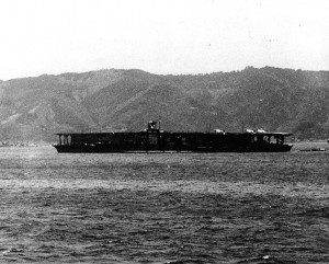 Akagi at Sukumo, Kōchi, in April 1939. Note her new, single deck flight platform and island superstructure