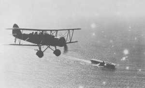 A Japanese Type 96 attack plane flies near Kaga during the China incident.