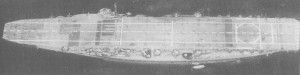 Kaga after reconstruction showing the new, full-length flight deck above the wide battleship hull.