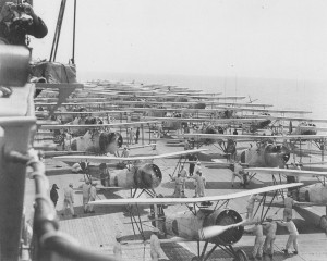 Kaga air wings ready to take off in 1937.