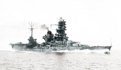 Battleship Ise, after conversion to hybrid battleship-carrier, in a revamped color image.