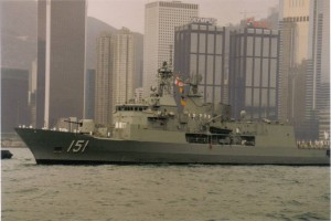 HMAS Arunta FFH 151 entering Hong-Kong port.