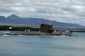 HMAS Waller submarine in Pearl Harbor port.