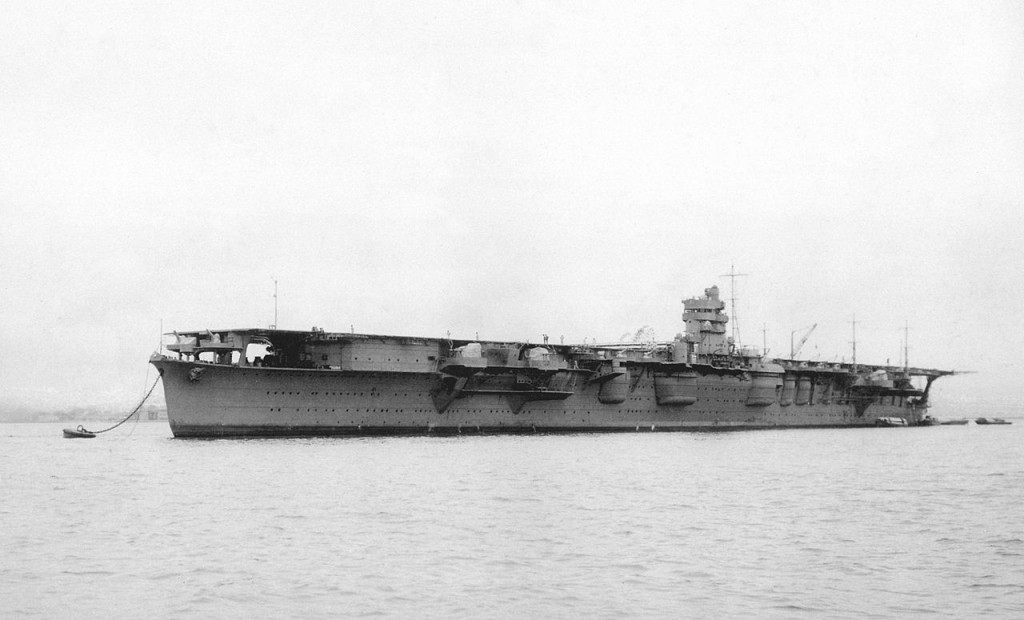 "A photo after the completion Japanese Navy aircraft carrier ""Hiryu"" in Yokosuka naval port, 1939, 5th July."