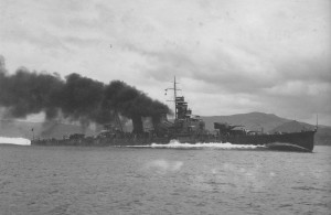 imperial Japanese Navy heavy cruiser Aoba undergoing sea trials on July 23, 1937.
