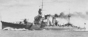 Furutaka in 1926. Note the turrets mount only a single gun.