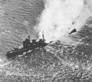 Heavy Cruiser Nachi sinking, 5 November 1944. Note her blown-off stern and bow.