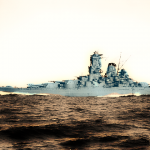 IJN Yamato battleship during speed trials in a revamped photography.