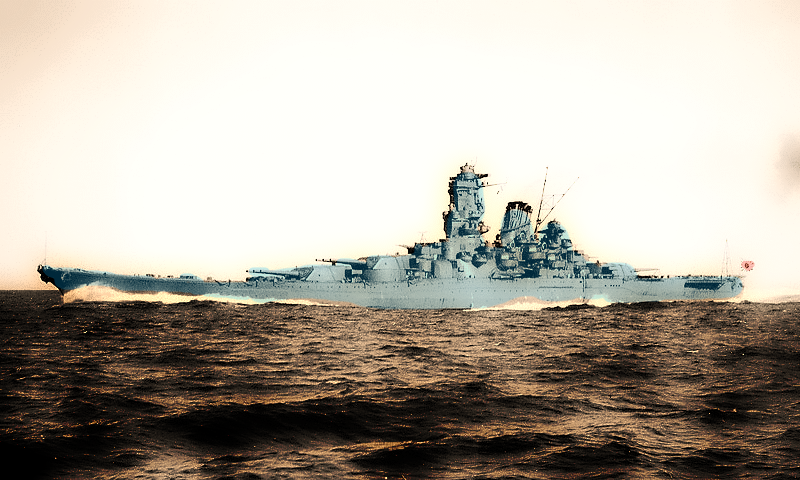 Nihon Kaigun photography: IJN Yamato battleship during speed trials in a revamped photography.