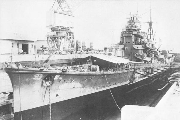 "Japanese Heavy Cruiser ""Ashigara"" in dry dock, Singapore. 1 December 1942."