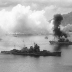 The heavy cruiser Haguro under attack at Rabaul on 2 November 1943, showing damage received in the battle of Empress Augusta Bay that morning.