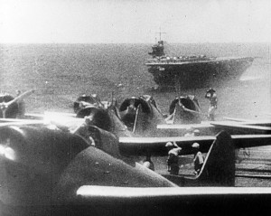 "Aichi D3A1 ""Val"" dive bombers ready to take off from Akagi Deck."