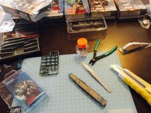 Zuikaku at 1/2000 scale under construction with Tamiya tools. The ship is from F-toys, Kantai Collection.