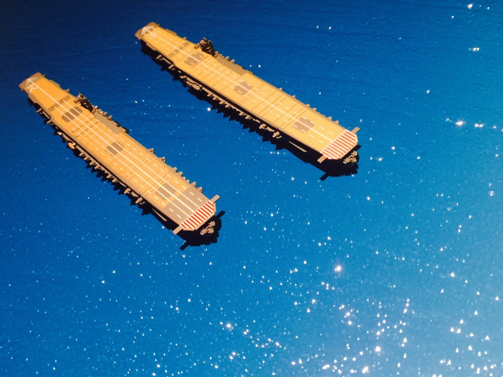A closer view of the Zuikaku and Shokaku carrier model ships at 1/2000 scale.