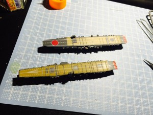 The built Akagi and Kaga carriers together at 1/2000