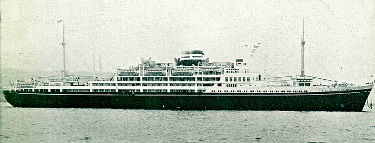 Ocean liner Argentina Maru in summer 1939 before being converted into carrier for  the IJN.