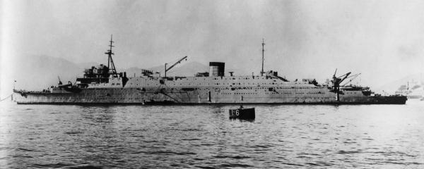 Japanese submarine depot ship Taigei off Kure in 1935.