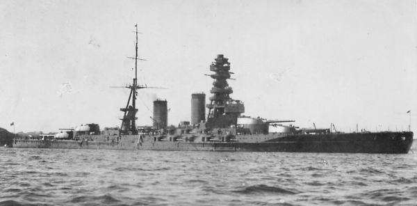 IJN Mutsu Battleship constructed under the eight-eight fleet doctrine.