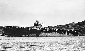 Junyo (Japanese aircraft carrier, 1942) Moored at Sasebo, Japan, circa Fall 1945