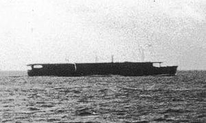 Escort aircraft carrier Unyo in 1943 in home waters.