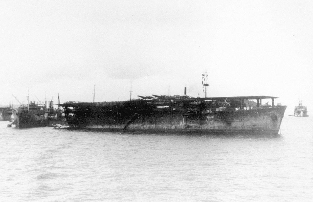 Escort Aircraft carrier Chuyo in Truk after transport mission.