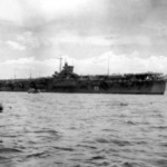 Katsuragi carrier performing transporting mission of Japanese soldiers betwen Solomon islands and Japan in 1946. Note the Hinomaru symbol on hull side.