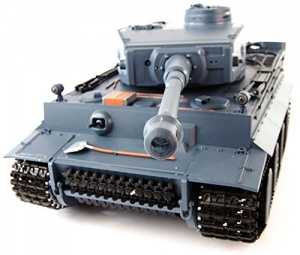 RC Tiger Tank front view with Grey camouflage.